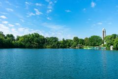 Quarry Lake In Naperville Illinois Near The Riverwalk During Summer Stock Images
