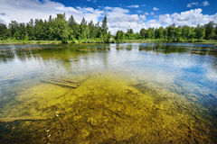 Quarry lake in Latvia with clear water Stock Photos