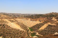 Quarry, olive groves and vineyards near the city of Hebron Royalty Free Stock Photos