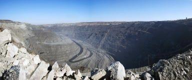 Quarry panorama. Panoramic view of Poltava Mining iron ore quarry, Ukraine stock photos