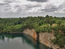 Quarry Park in Winston-Salem. Once an old granite quarry, the mostly wooded 200 acres was acquired by the city and in 2017 opened as Forsyth County`s newest park royalty free stock photo