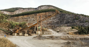 Quarry. Plant with machinery for mineral extraction royalty free stock images
