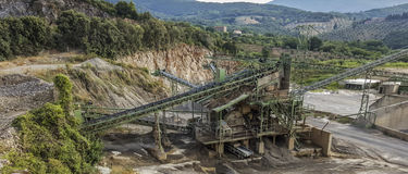 Quarry. Plant with machinery for mineral extraction stock image