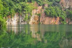 A quarry with reflection on the water Stock Photography