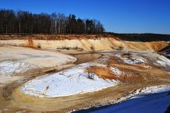 Quarry for sand mining Royalty Free Stock Photo