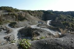 Quarry scenery with roads at summer time Stock Image