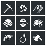 Quarry and slavery icons set. Vector Illustration. Stock Photo