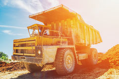 Quarry truck in sunlight filter royalty free stock photo