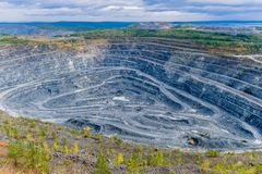 Quarry of vanadium ore mining industry stock images