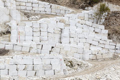 Quarry of white marble. Work in quarry of white marble Stock Images