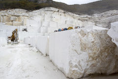 Quarry of white marble Stock Photos