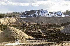 Quarrying of sand in a quarry. Sand from the Karelian Isthmus, north-west of Russia Stock Images