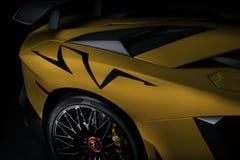 Quart arrière au loin de l'Aventador SV images stock