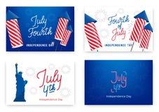 Quart de juillet Bannières de vacances pour le Jour de la Déclaration d'Indépendance des Etats-Unis Ensemble de cartes modernes,  illustration stock