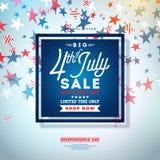 Quart de juillet Conception de bannière de vente de Jour de la Déclaration d'Indépendance avec le fond d'étoiles filantes Vecteur illustration stock