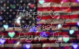 Quart de juillet Jour de la Déclaration d'Indépendance heureux des Etats-Unis sur l'Amérique Photos libres de droits