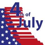 Quart de juillet Quatrième d'illustration simple de célébration de juillet Jour de la Déclaration d'Indépendance des Etats-Unis L Photographie stock libre de droits