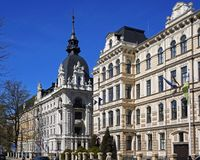 Quart de Riga, d'Art Nouveau, les carrefours de Vilandes et Elizabetes Images libres de droits
