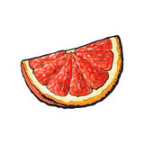 Quart, segment, morceau de pamplemousse rose mûr, orange rouge illustration libre de droits