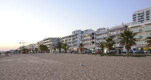 Quarteira city beach in the evening stock image