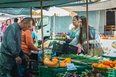 Small outdoor market where of quarteira in Portugal stock photos