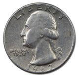Quarter. Back side of american 25 cents coin Stock Photo