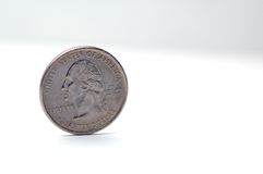 Quarter. Balanced on its side Royalty Free Stock Photography
