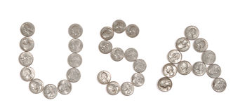 Quarter american coins spelling USA. Set of quarter american coins spelling USA Stock Photos