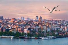 Quarter of Beyoglu and Galata tower at sunrise, Turkey Royalty Free Stock Image