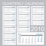 Quarter calendar. 2010 - - all month (December 2009 and January 2011 Royalty Free Illustration