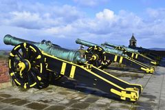 Quarter cannons on a gun carriage stock photo