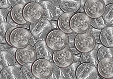 Quarter Coins. US dollar Quarter coins background Stock Photography