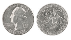 Quarter Dollar 1776-1976. United States money. Quarter dollar coin (1776-1976). Obverse and reverse isolated over white stock images