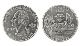 Quarter Dollar Arkansas Royalty Free Stock Images