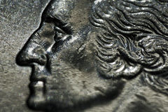 Quarter Dollar. Close up George Washington on quarter dollar coin United States stock image