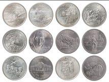 Quarter dollar coin. Set of coins - quarter dollar on a white background Stock Photos