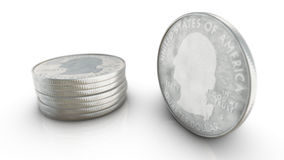Quarter dollar coin standing on edge in front of stack of coins Stock Photography
