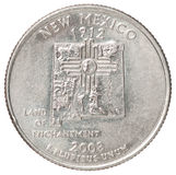 Quarter dollar coin. The quarter dollar from the state of New Mexico on a white background Stock Photos