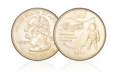 Quarter dollar isolated stock photos