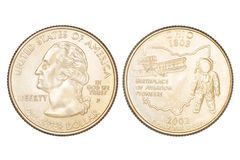 Quarter dollar isolated Royalty Free Stock Photography