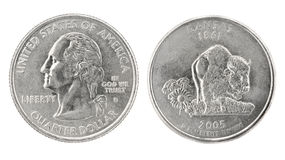 Quarter Dollar Kansas Royalty Free Stock Photography
