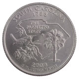 Quarter dollar from South carolina Royalty Free Stock Images