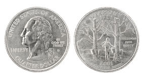 Quarter Dollar Vermont stock photo