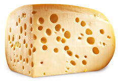 Quarter of Emmental cheese head. Clipping paths. Royalty Free Stock Photos