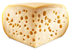 Quarter of Emmental cheese head isolated on a white background. Royalty Free Stock Image