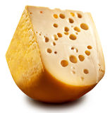Quarter of Emmental cheese head. Stock Photos
