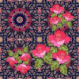 Quarter of the ethnic bandana print with roses in russian style Stock Photos