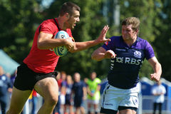 Quarter final match Scotland vs Belgium in Rugby 7 Grand Prix Series in Moscow Royalty Free Stock Photography