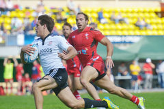 Quarter final match Wales vs Portugal in Rugby 7 Grand Prix Series in Moscow Royalty Free Stock Image