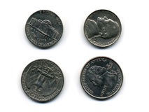 Quarter and nickel Stock Image